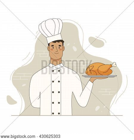 Chef Hold Empty Serving Tray Serving Tray With Baked Chicken. Vector Flat Cartoon Illustration