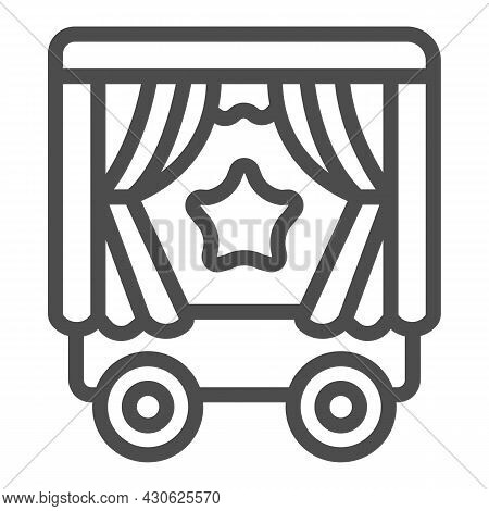 Mobile Puppet Wagon On Wheels, Star Line Icon, Theater Concept, Puppet Theater Wagon Vector Sign On