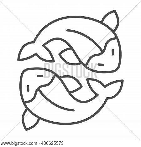 Two Salmon, Fresh Fish, Japanese Koi, Carp Thin Line Icon, Asian Culture Concept, Goldfish Vector Si
