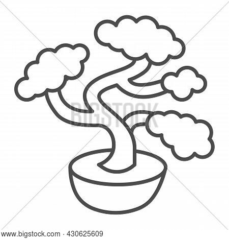 Bonsai Tree, Potted Plant Thin Line Icon, Asian Culture Concept, Japanese Miniature Tree Vector Sign