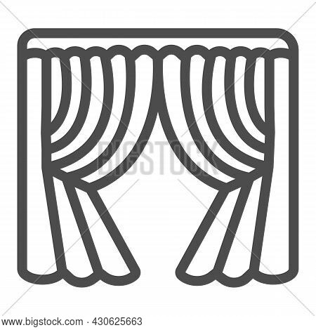 Silk Stage Curtains Line Icon, Theater Concept, Velvet Drapes Vector Sign On White Background, Outli
