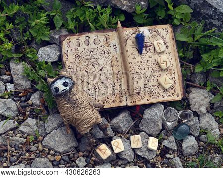 Wicca Ritual With Voodoo Doll, Runes And Witch Book Of Magic Spells. No Foreign Language, Only Fanta