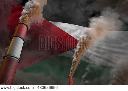 Jordan Pollution Fight Concept - Two Huge Industrial Pipes With Dense Smoke On Flag Background, Indu