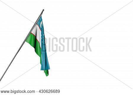 Pretty Uzbekistan Flag Hangs On A Diagonal Pole Isolated On White - Any Celebration Flag 3d Illustra