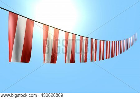 Nice Many Austria Flags Or Banners Hanging Diagonal On Rope On Blue Sky Background With Selective Fo