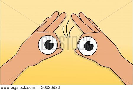 Hand Gesture Symbolizing Binoculars. Magnification Of Distant Object. Optical Illusion And Look Ahea