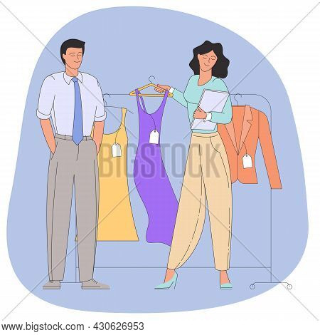 People Shopping Flat Vector Illustration. Happy Boutique Customers. Clothing Sale, Consumerism Conce