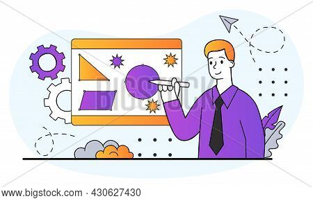 Graphic Designer, Freelancer Or Art Director Concept. Man Draws Abstract Figures With Stylus In Prog