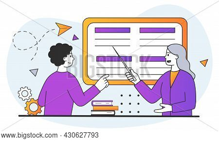 Studying At School Or University. Teacher Giving Seminar To Student In Classroom. Woman With Pointer