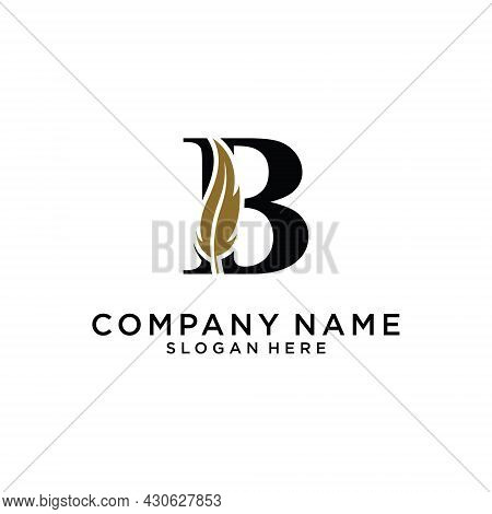 Initial Letter B Logo With Feather Concept. Design Concept Luxury Feather Element And Letter B For C