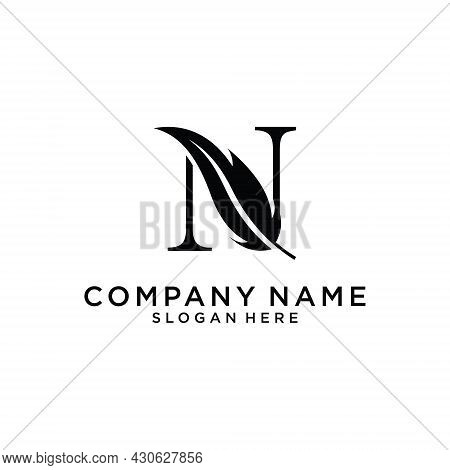 Initial Letter N Logo With Feather Concept. Design Concept Luxury Feather Element And Letter N For C