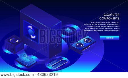 Computer Components Needed To Build Custom Desktop Pc, Web Banner Template, Vector Isometric Illustr