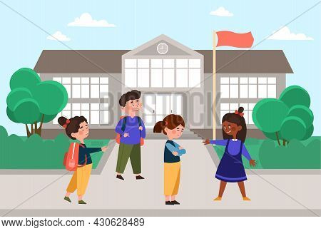 Bullying At School Concept. Children Offend Their Classmate And Say Unpleasant Words. Female Surroun