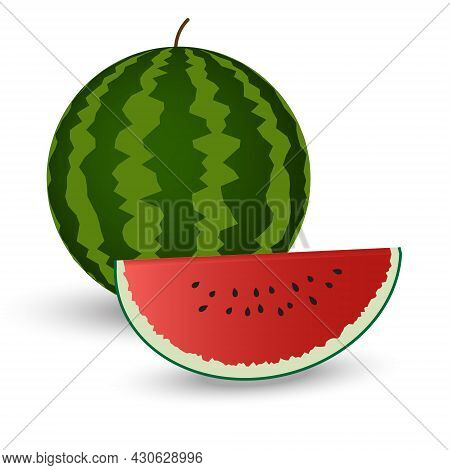 Whole-leaf And Sliced Watermelons With Red Flesh On A White Background.