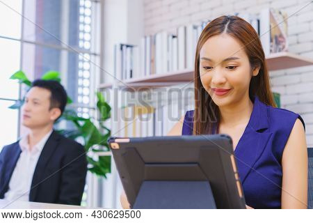 Business Woman Work From Home Working On Tablet Computer, Lifestyle Woman Work At Home Concept. Depr