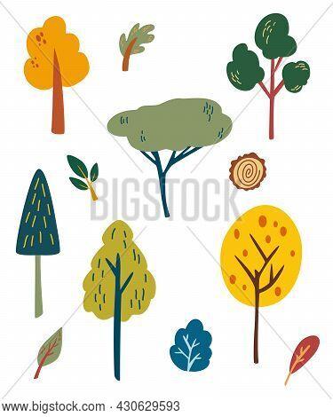 Forest Trees Set. Cartoon Woodland Plants, Tree Stumps, Bush, Grass, Leaves. Botanical Garden. Green
