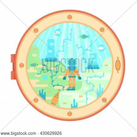 Diver On The Seabed Among The Destroyed Columns. Deep Sea Explorer In The Porthole Of A Submarine -