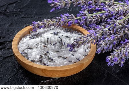 Lavender Sea Salt With A Bunch Of Lavandula Flowers, Aromatic Herb For Cooking Or A Bath Salt For Sp