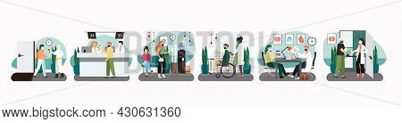 Hospital Scene Set, Flat Vector Illustration. Patients In Reception, Doctor Therapist Office. Medica