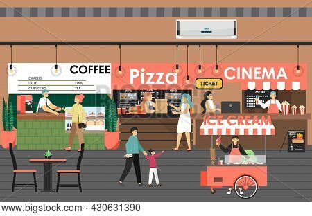 Shopping And Entertainment Center With Cinema, Pizza, Coffee Shop, Ice Cream, Flat Vector Illustrati