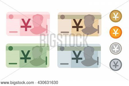 Yuan Renminbi China Chinese Bank Notes Currency Icon Set Collection Paper Money And Coin