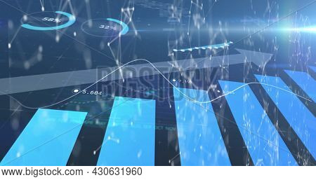 Image of financial data with arrow ascending processing over network of connections with icons. global finances network digital interface concept digitally generated image.