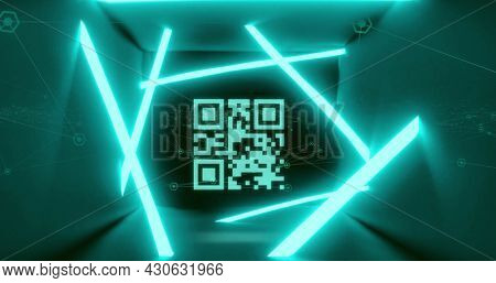 Image of qr code glowing with blue neon stripes over blue background. digital interface, global technology, connection and communication concept digitally generated image.