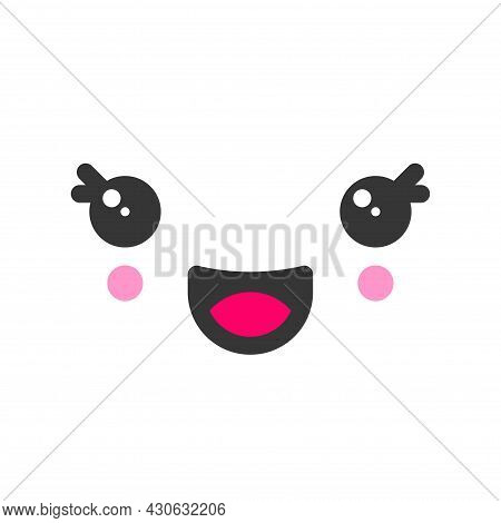 Laughing Kawaii Cute Emotion Face, Emoticon Vector Icon