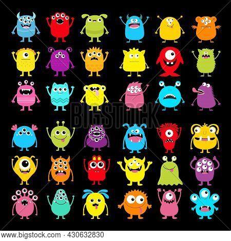 Monster Icon Super Big Set. Happy Halloween. Cute Cartoon Kawaii Baby Character. Funny Head Face Col