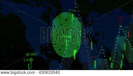 Image of digital interface with fingerprint, graphs and world map on black background. Global digital network technology security concept digitally generated image.