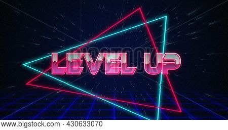 Image of retro Level Up text glitching over blue and red triangles on white hyperspace effect