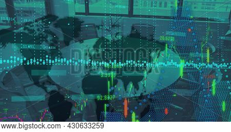 Image of financial data processing with world map over empty meeting room. digital interface, global finance and business concept digitally generated image.