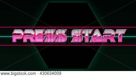 Image of press start text in pink metallic letters over pink and green lines and green hexagons. Global network of connection and image game concept digitally generated image.