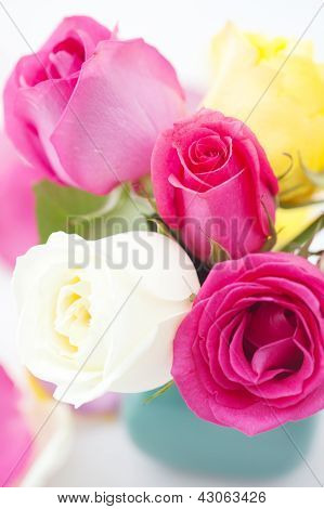 Bouquet Of Colorful Roses In Vase And Petals