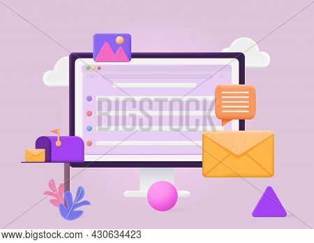 Mail Service Concept. Received A New Message In Mailbox. Business Correspondence. Internet Work. Sen