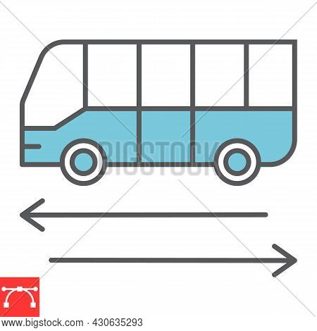 Shuttle Bus Line Icon, Travel And Airport, Bus Vector Icon, Vector Graphics, Editable Stroke Outline