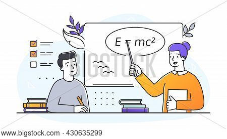 Teacher Giving Seminar. Woman Explains To Student Basic Laws Of Physics. Studying At School Or Unive