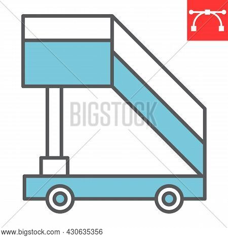 Airport Ladder Color Line Icon, Transport And Airport, Plane Ladder Vector Icon, Vector Graphics, Ed