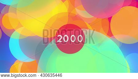 Image of floating coloured circles and a number in white on central red circle increasing to 2000. colour, movement, information interface concept, digitally generated image.