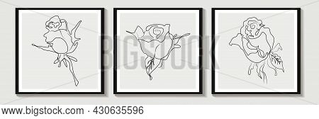 One Line Of A Vector Drawn Of Aabstract  Rose Is A Modern One Line Art, An Aesthetic Contour. For Ho