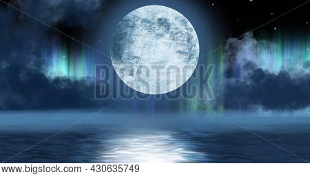 Image of full moon hanging over water with aurora lights in night sky in background. nature, movement and light concept, digitally generated image.