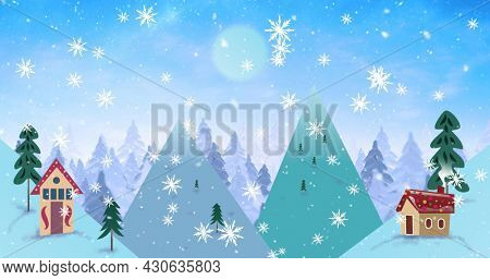 Image of christmas decoration of fir tree branches and winter christmas scenery with snow falling seen through window. christmas festivity celebration concept digitally generated image.