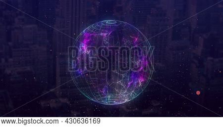 Image of spinning digital network of connections over modern buildings. Global digital network technology finance concept digitally generated image.