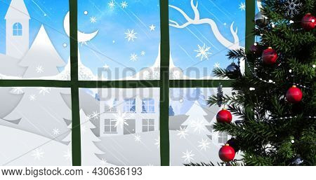 Image of christmas tree with winter scenery with houses, moon and snow falling seen through window. christmas festivity celebration concept digitally generated image.