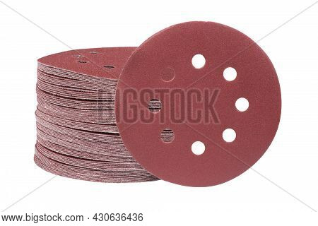 Red Round Sandpaper Disc Isolated On A White Background. Sanding Disk For Sander Grits.