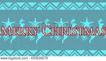 Image of merry christmas text with christmas reindeer pattern on blue background. christmas festivity celebration concept digitally generated image.