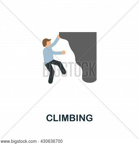 Climbing Icon. Flat Sign Element From Extreme Sport Collection. Creative Climbing Icon For Web Desig