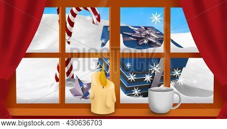 Image of candle, christmas candy cane and present with winter scenery seen through window in the background. christmas festivity celebration concept digitally generated image.
