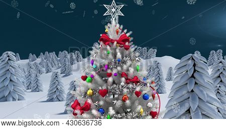 Image of christmas tree and winter scenery with snow falling seen through window. christmas festivity celebration concept digitally generated image.