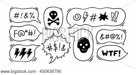 Comic Speech Bubble With Swear Words Symbols. Hand Drawn Speech Bubble With Curses, Lightning, Skull